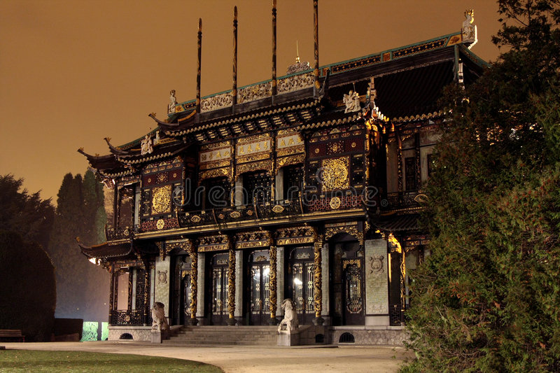 Chinese pavilion. And Far Eastern Museums, backlighted by night, Belgium, Brussel royalty free stock images