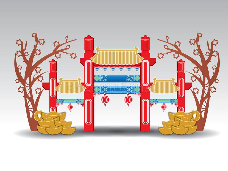 Chinese Pavilion Arch, gold, money royalty free stock image