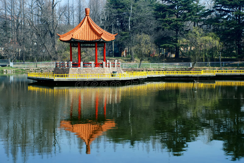 Chinese pavilion in lake. A Chinese pavilion at Lake Central of park stock images