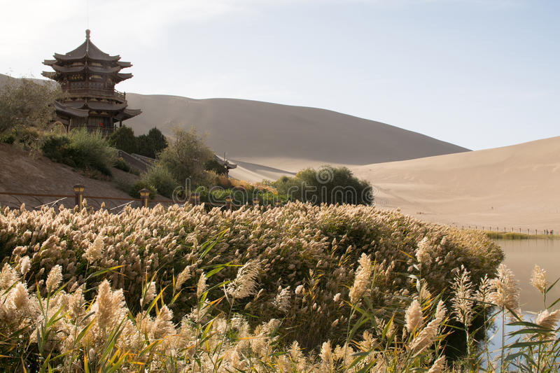 Chinese pavilion. Near Crescent Moon Lake in desert, Dunhuang, China stock photography