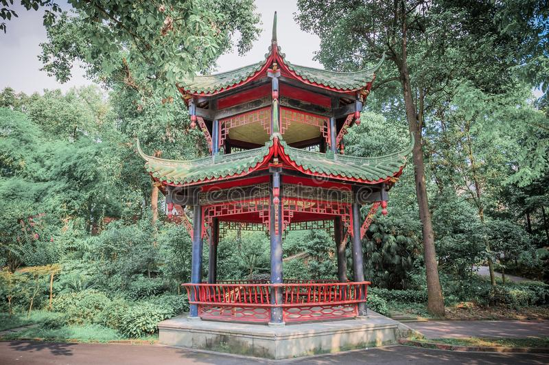 Chinese pavilion in a park. Chengdu, China stock images