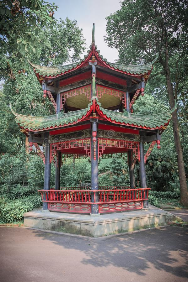 Chinese pavilion in a park. Chengdu, China royalty free stock images