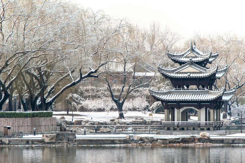 Chinese pavilion in the snow. A park of Beijing stock photography