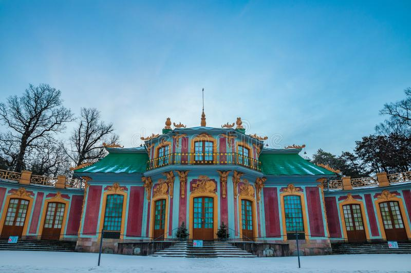 Chinese Pavilion. The Chinese Pavilion Swedish: Kina slott, located in the grounds of the Drottningholm Palace park is a Chinese-inspired royal pavilion royalty free stock photography