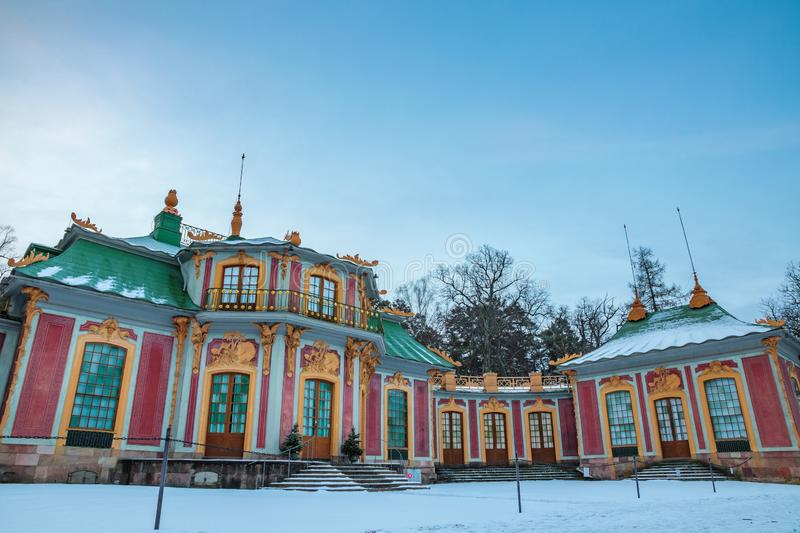 Chinese Pavilion. The Chinese Pavilion Swedish: Kina slott, located in the grounds of the Drottningholm Palace park is a Chinese-inspired royal pavilion royalty free stock image