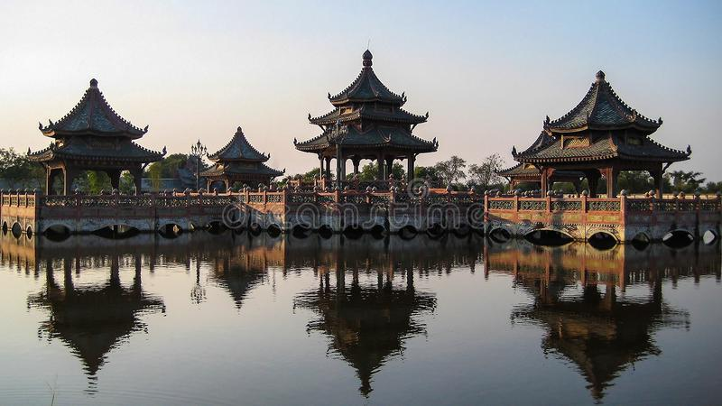 Chinese pavilion. On the water royalty free stock photo