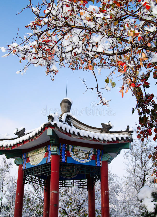 Chinese pavilion in winter. Chinese traditional pavilion with snow in winter stock images