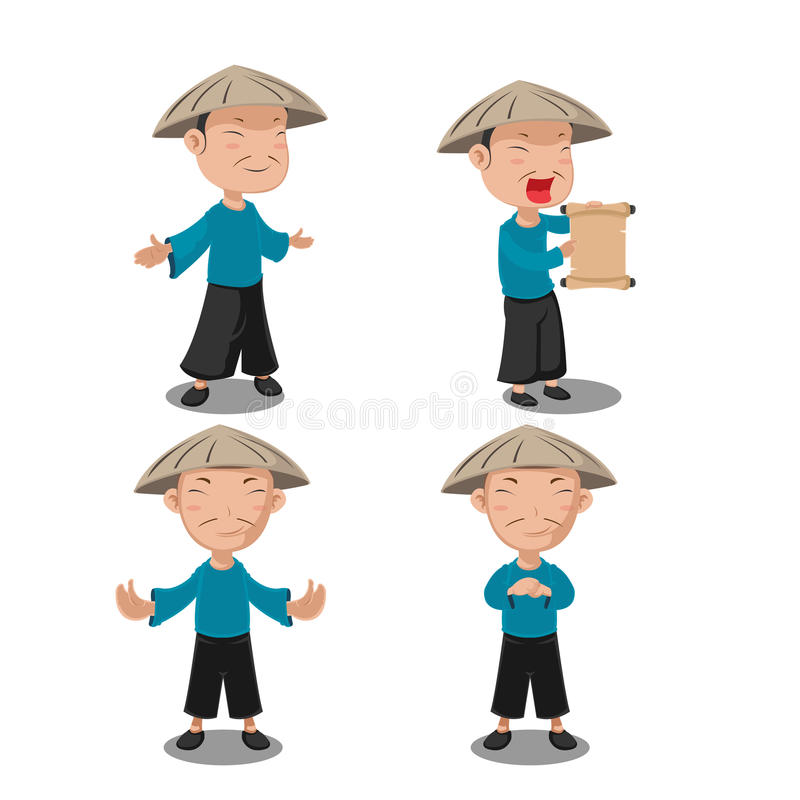 Chinese People Character Pose Set royalty free illustration