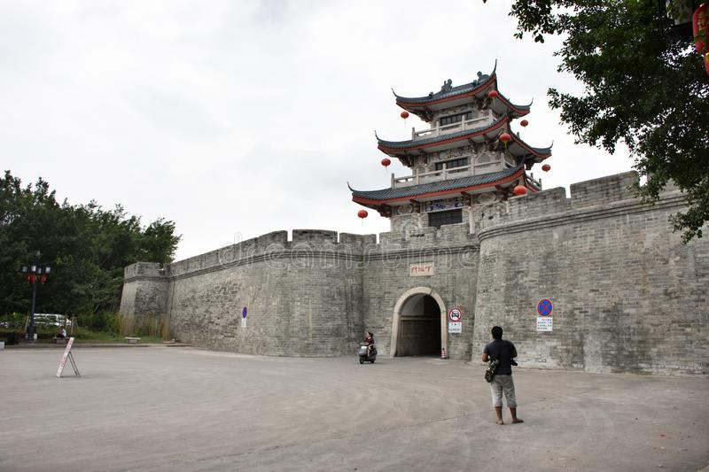 Guangji and Xiashui Gate with Ming ancient and ruins city wall of Chaozhou at Teochew  in Guangdong, China royalty free stock images