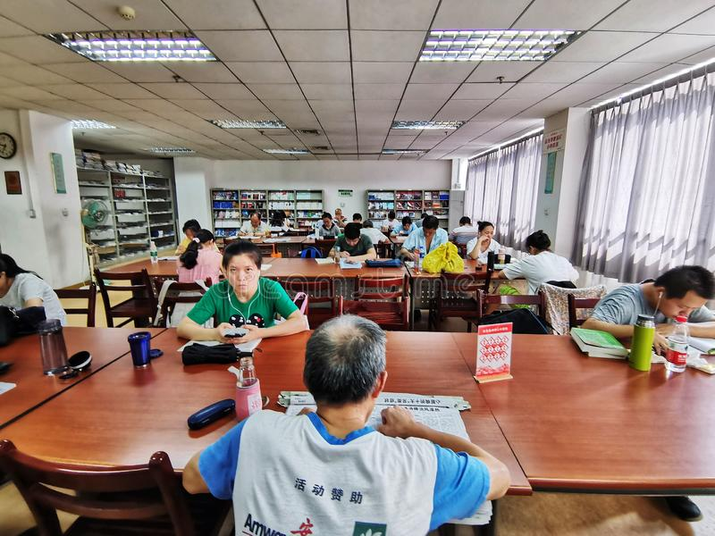 Chinese people reading in a public library, wuhan city royalty free stock photography