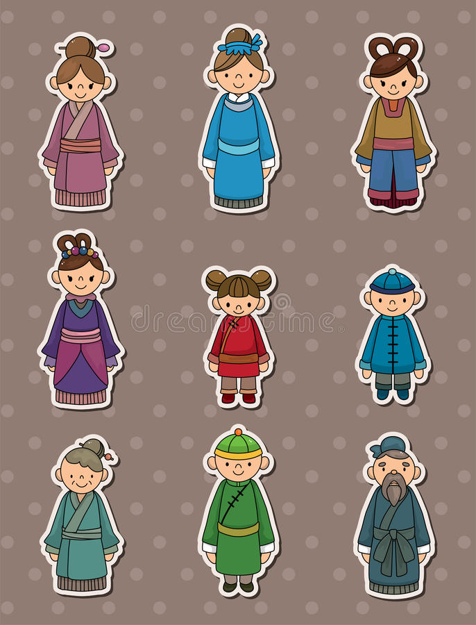 Download Chinese people stickers stock vector. Image of doll, girl - 24845495