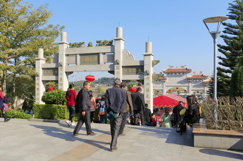 Chinese people visit chi gong. Green reef (qingjiao ) tzu chi palace is located in the haicang district of xiamen city, china, worship the famous doctor wutao of royalty free stock images
