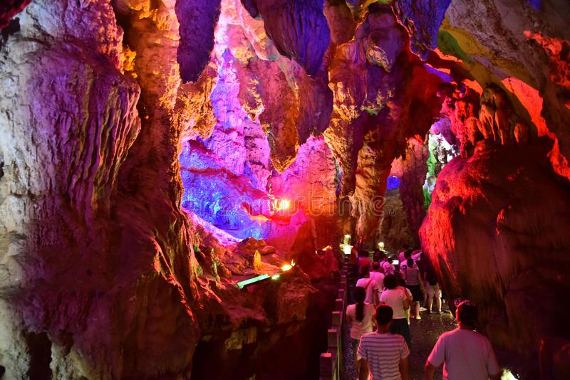 Chinese people visit karst cavern in yangsuo county,china royalty free stock images