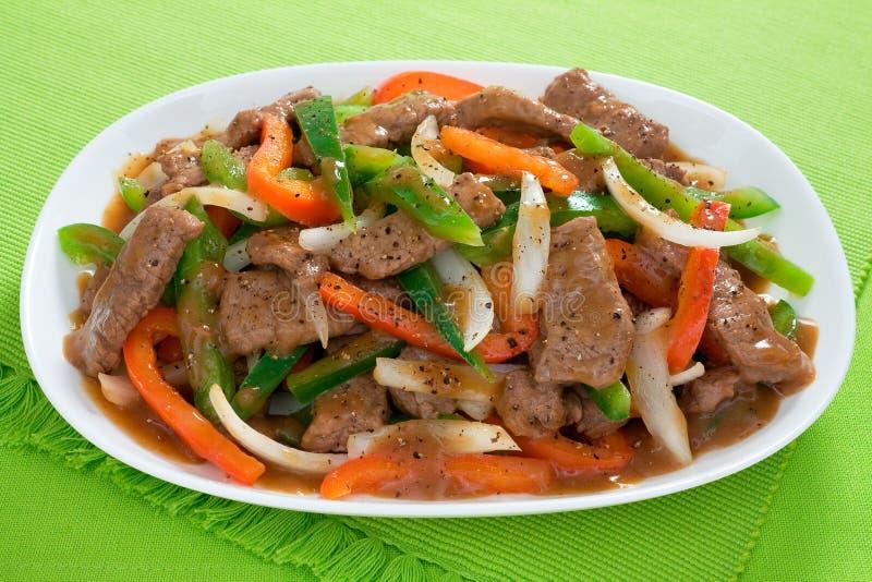 Chinese Pepper Steak stock photos