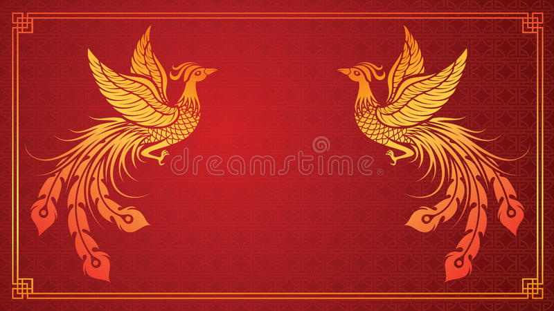Chinese phoenix template stock illustration