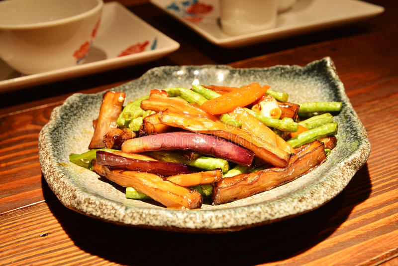 Chinese plantaardige schotel stock foto