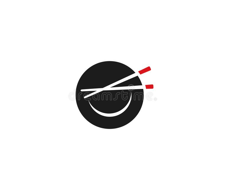 Chinese Plate With Chopsticks Logo Template. Asian Style Plate ...
