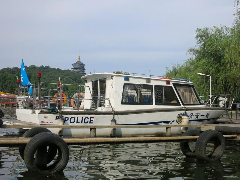 Chinese Police Boat royalty free stock images