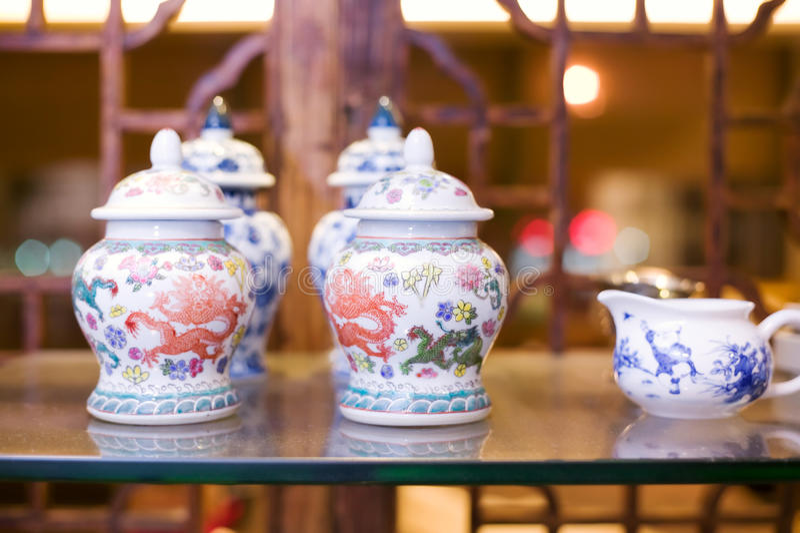Chinese Porcelain Tea Set Royalty Free Stock Photography