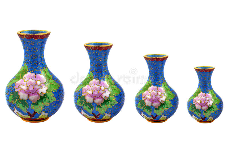 Chinese porcelain vases. Descending, with white background stock photo