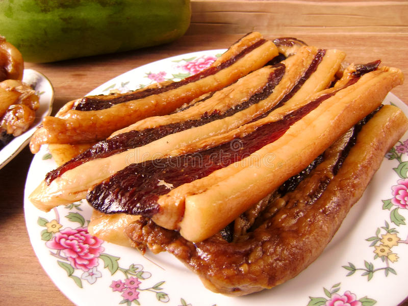 Chinese pork belly bacon slices stock images