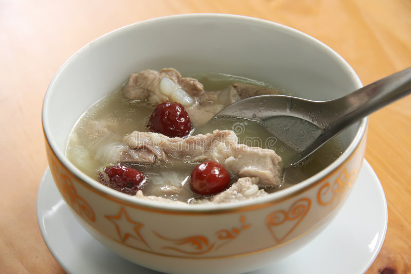 Chinese pork soup stock image