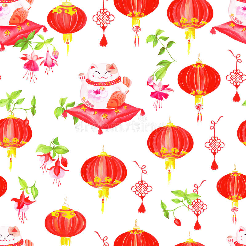 Chinese print with lanterns, fuchsia and lucky cats. Watercolor royalty free illustration