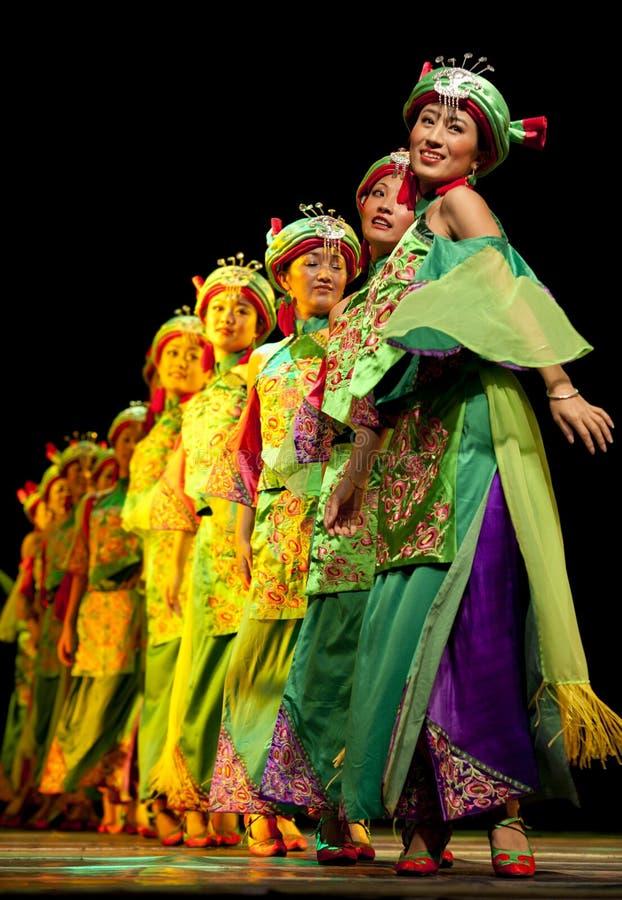 Chinese Qiang ethnic dancing girls royalty free stock image