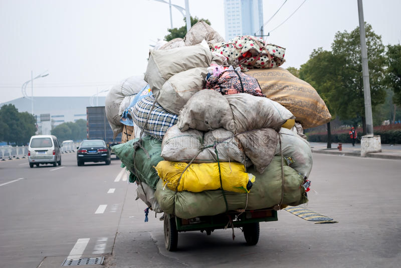 Chinese recycling trader royalty free stock image