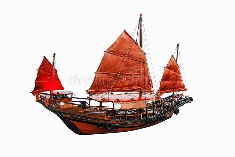 Chinese red classic sailboat on white background stock image