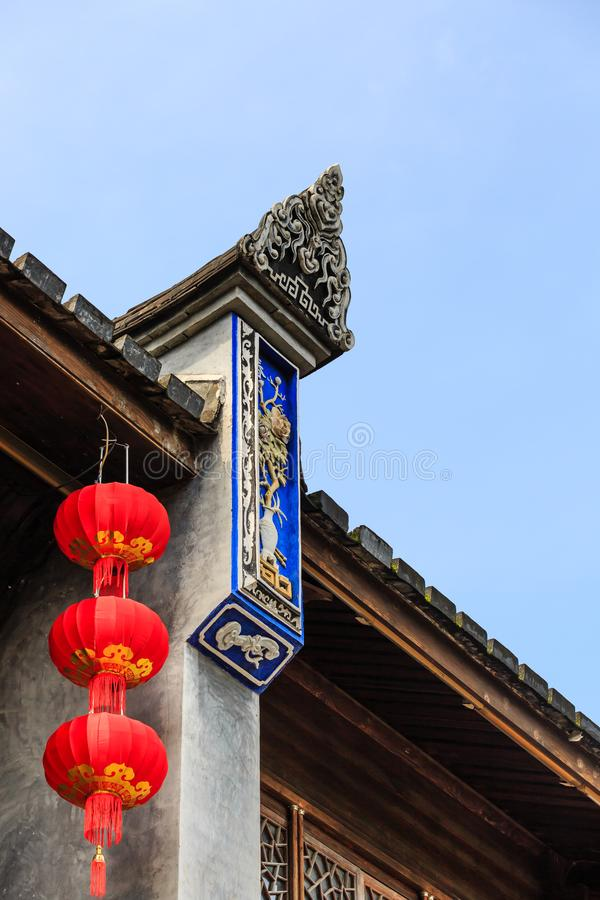 Chinese Red Lantern decorated on Chinese traditional old house detail stock image