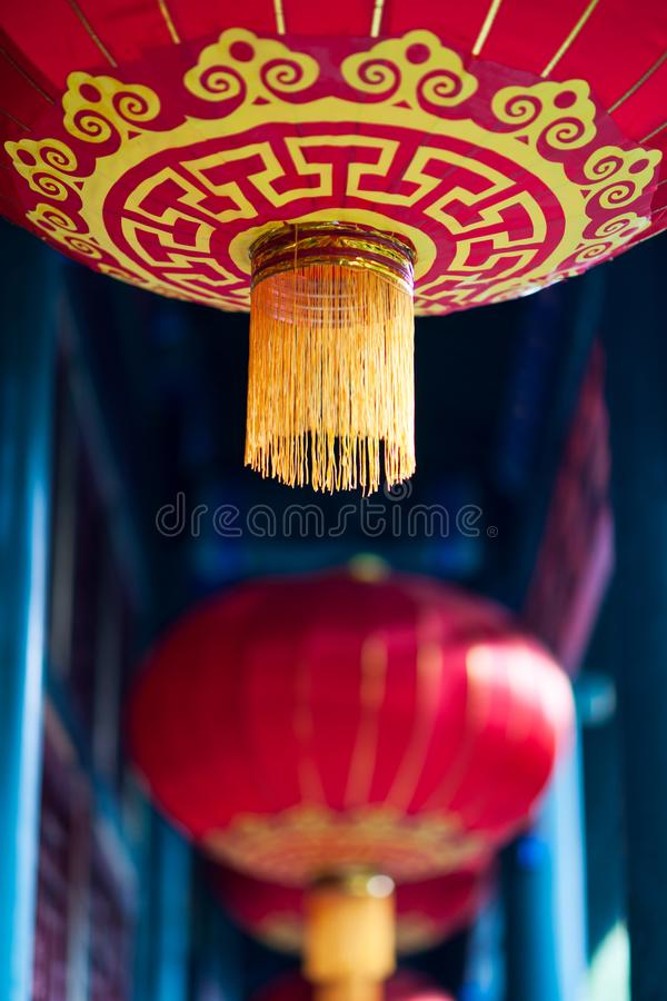 Chinese red lantern with yellow and golden pattern royalty free stock photo