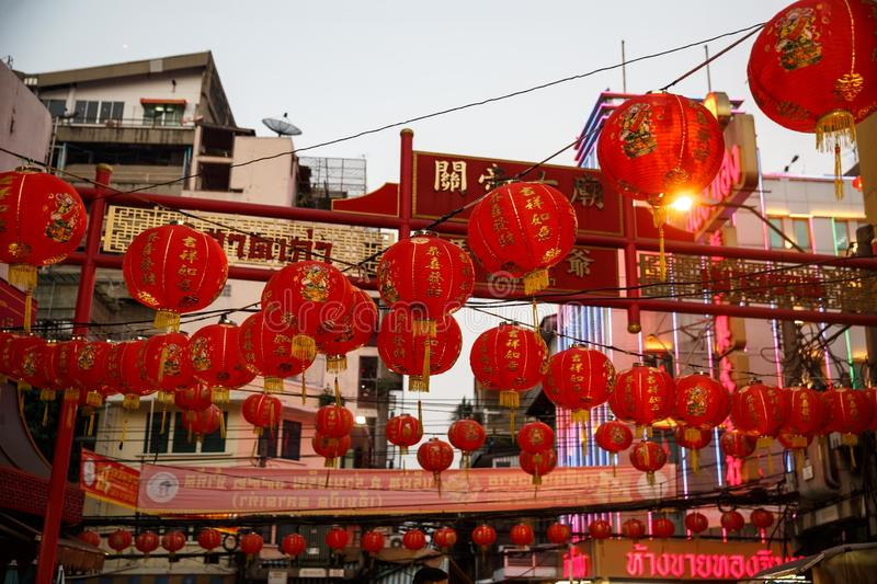 Chinese red lanterns in chinatown on chinese New Year royalty free stock images