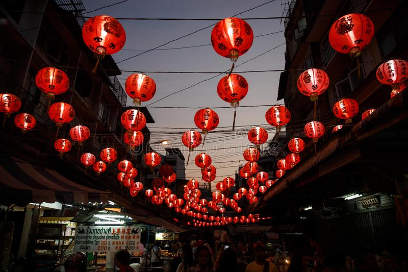 Chinese red lanterns in Chinatown royalty free stock photography
