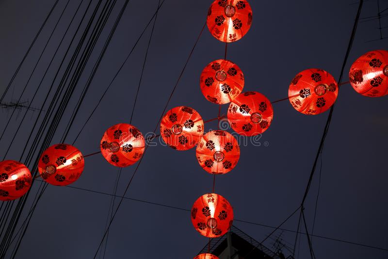 Chinese red lanterns in Chinatown royalty free stock image