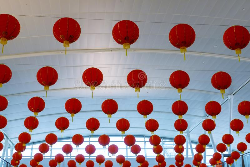 Chinese red lanterns decorated in series for the Chinese New Year celebrations stock images
