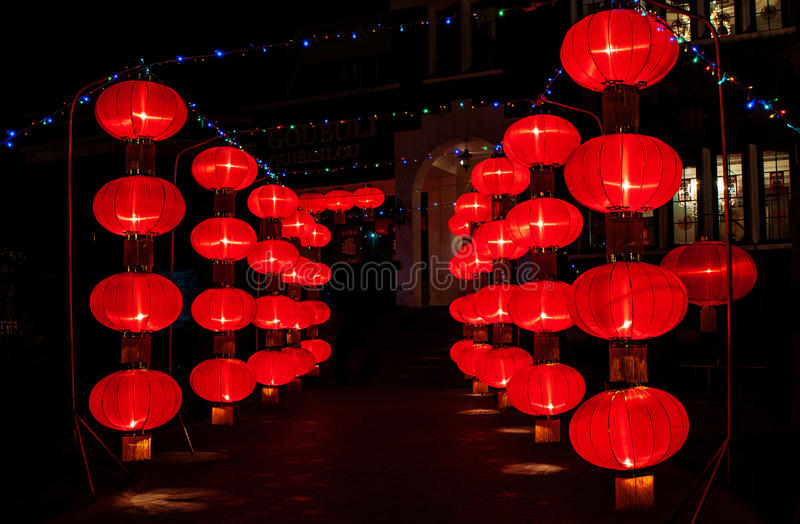 Chinese red lanterns. In the traditional festival, the Chinese red lanterns is hanging up stock images