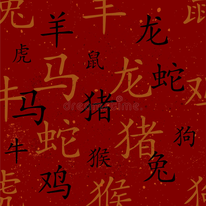 Chinese red maroon oriental background with zodiac signs stock illustration