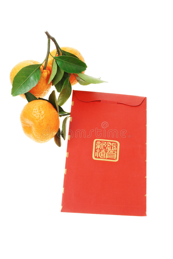 Download Chinese Red Packet And Mandarin Oranges Stock Photography - Image: 7561822