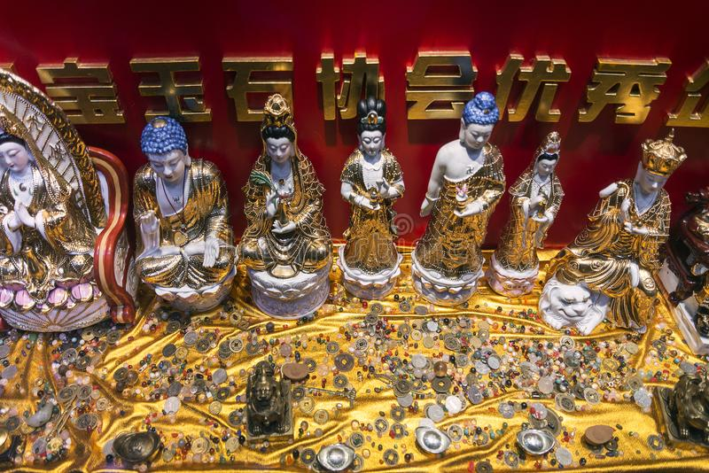 Chinese religious trinkets and statues on display in xiamen chin royalty free stock photo