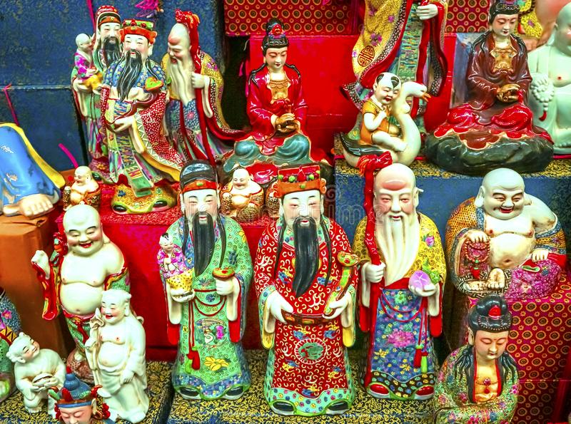 Chinese Replica Ceramic Buddhas Gods Panjuan Flea Market Beijin royalty free stock photos