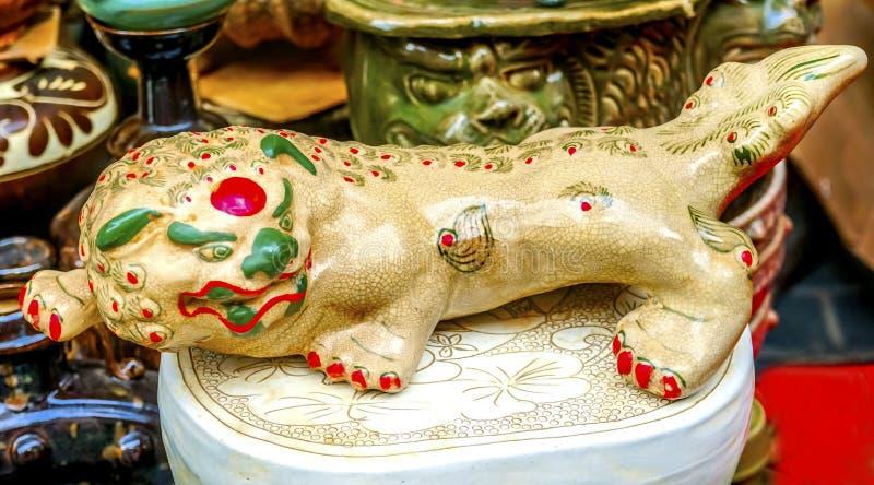 Chinese Replica Ceramic Dragon Panjuan Flea Market Decorations royalty free stock photo