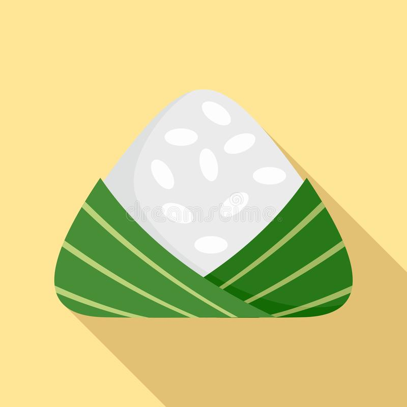 Chinese rice dumplings icon, flat style stock illustration