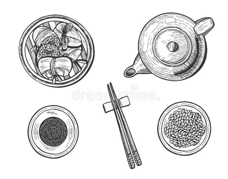 Chinese rice dumplings simple set. Vector illustration of chinese rice dumplings Zongzi in banana leaves simple set. Top realistic view of tea pot, soy sauce royalty free illustration
