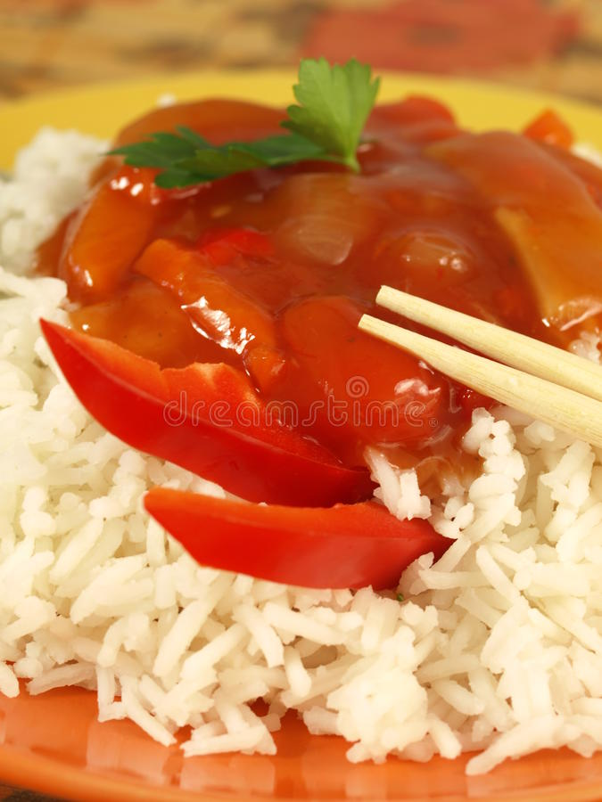 Chinese Rice And Sauce, Closeup Royalty Free Stock Photo