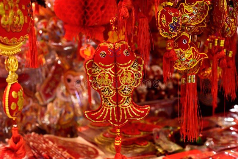 Chinese rode vissendecoratie royalty-vrije stock afbeeldingen