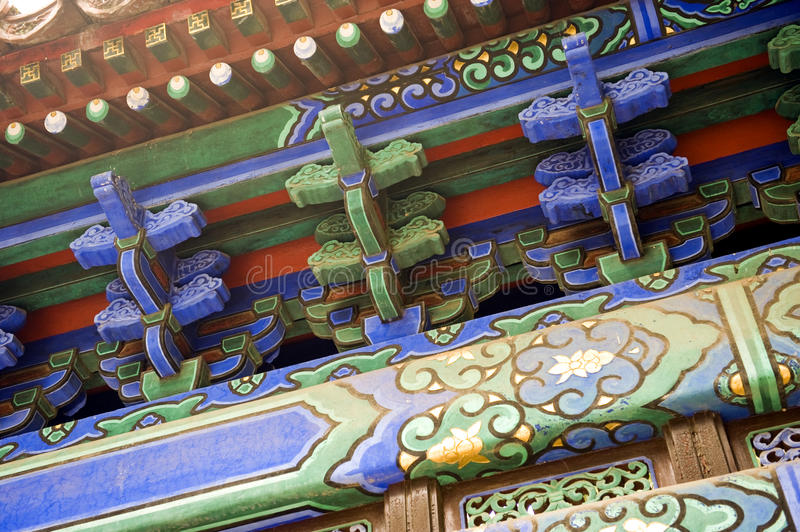 Chinese roof beams royalty free stock photography