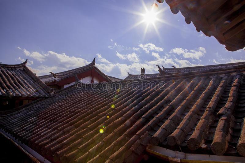 Chinese roof. With blue sky and strong sun royalty free stock images