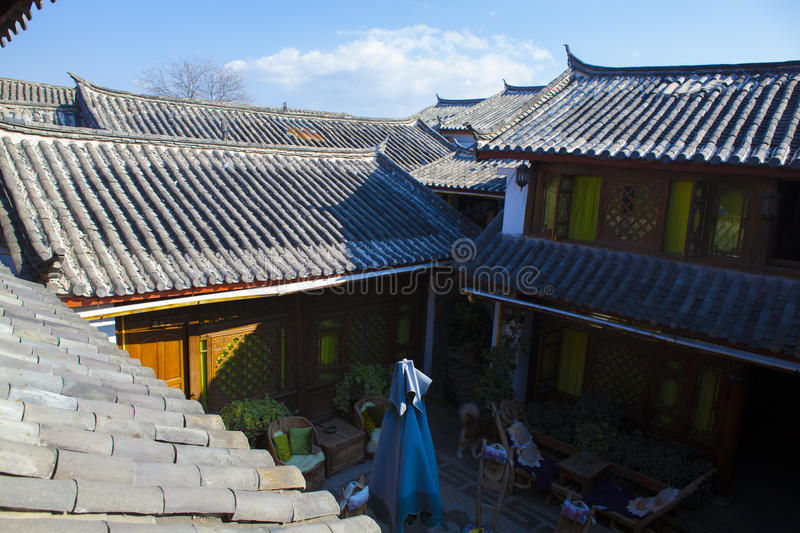 Chinese roof. With blue sky and strong sun stock photography