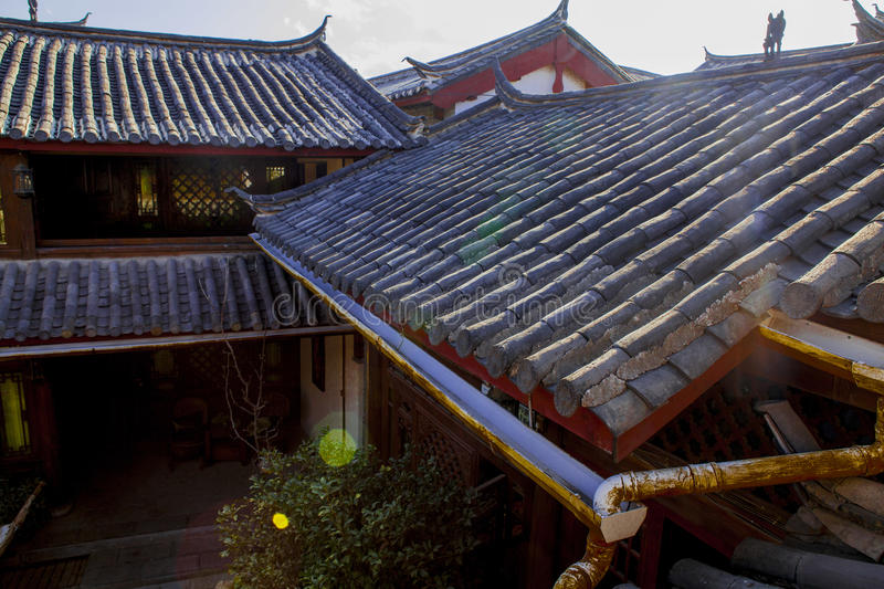Chinese roof. With blue sky and strong sun stock images